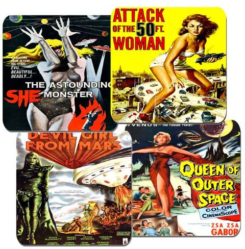 Vintage 50's Sci Fi Women Movie Film Poster Coasters Set Of 4. High Quality Cork (1)